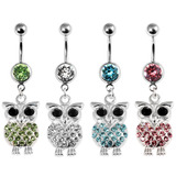 view all Belly Bar - Jewelled Owl body jewellery