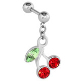 view all Steel Cherry Dangle Charm Tragus Bar body jewellery