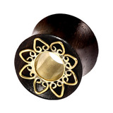 view all Organic Eyelet Tunnel Sono Wood and Brass Lotus Flower (OE16) body jewellery