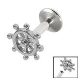 view all Titanium Internally Threaded Labrets 1.6mm - Ships Wheel body jewellery