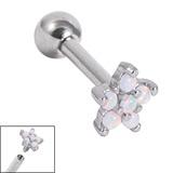 view all Titanium Internally Threaded Barbells 1.6mm - 5 point Opal Flower body jewellery