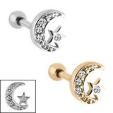 view all Steel Jewelled Star And Moon Tragus Bar body jewellery