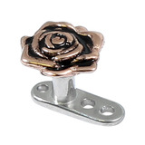view all Titanium Dermal Anchor with Rose Gold Rose Flower body jewellery