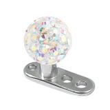 view all Titanium Dermal Anchor with Smooth Glitzy Ball body jewellery