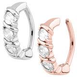 Steel Huggy Belly Clicker Ring Triple Jewel Body Jewellery