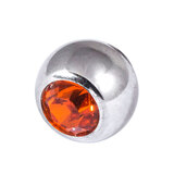 Steel Threaded Jewelled Balls 1.6x3mm orange