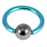 Titanium BCR with Hematite Bead 1.2mm gauge 1.2mm, 10mm, 4mm, Turquoise