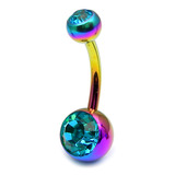 Titanium Double Jewelled Belly Bars 10mm Anodised Rainbow, Turquoise