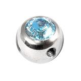 Steel Side-threaded Jewelled Balls 1.6x8mm light blue