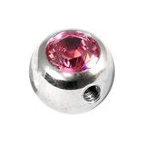 Steel Side-threaded Jewelled Balls 1.6x8mm pink