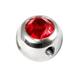 Steel Side-threaded Jewelled Balls 1.6x8mm red
