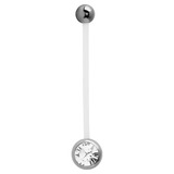 Pregnancy PTFE and Surgical Steel Single Jewelled Belly Bars - SKU 10158