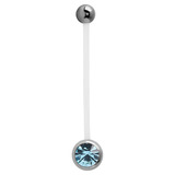 Pregnancy PTFE and Surgical Steel Single Jewelled Belly Bars Light Blue