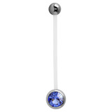 Pregnancy PTFE and Surgical Steel Single Jewelled Belly Bars Sapphire Blue