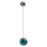 Pregnancy PTFE and Surgical Steel Single Jewelled Belly Bars Turquoise
