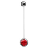 Pregnancy PTFE and Surgical Steel Single Jewelled Belly Bars Red