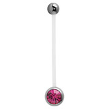 Pregnancy PTFE and Surgical Steel Single Jewelled Belly Bars Fuchsia