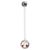 Pregnancy PTFE and Surgical Steel Single Jewelled Belly Bars Crystal AB