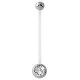 Pregnancy PTFE and Surgical Steel Double Jewelled Belly Bars Crystal Clear