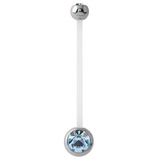 Pregnancy PTFE and Surgical Steel Double Jewelled Belly Bars Light Blue