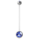 Pregnancy PTFE and Surgical Steel Double Jewelled Belly Bars Sapphire Blue