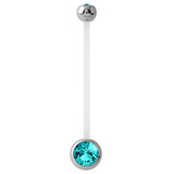 Pregnancy PTFE and Surgical Steel Double Jewelled Belly Bars Turquoise
