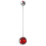 Pregnancy PTFE and Surgical Steel Double Jewelled Belly Bars Red