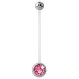 Pregnancy PTFE and Surgical Steel Double Jewelled Belly Bars Pink