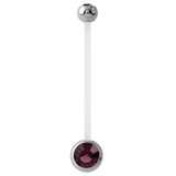 Pregnancy PTFE and Surgical Steel Double Jewelled Belly Bars Purple