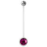 Pregnancy PTFE and Surgical Steel Double Jewelled Belly Bars Fuchsia