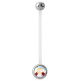 Pregnancy PTFE and Surgical Steel Double Jewelled Belly Bars Crystal AB