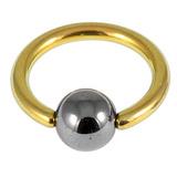Titanium BCR with Hematite Bead 1.2mm gauge 1.2mm, 9mm, 4mm, Gold