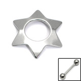 Nipple Shields Star Nipple Shield. Central hole diameter is 12.5mm. 1.6x14mm Steel barbell is NOW included.