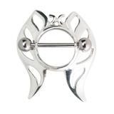 Steel Nipple Shields - Butterfly Steel Butterfly Nipple Shield. Steel barbell included.