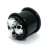 Acrylic Triple Skull Plug 16 / black