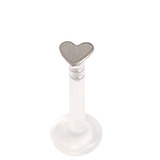 Bioflex Push-fit Labret with Titanium Heart 1.2mm 1.2mm, 9mm, Titanium Heart - Mirror Polish