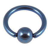 Titanium BCR with Titanium Ball 1.2mm gauge 1.2mm, 12mm, (4mm) Blue