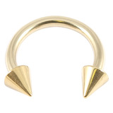 Zircon Titanium Coned Circular Barbells (CBB) (Horseshoes) (Gold colour PVD) 1.6mm, 12mm, 4mm base and 4mm height