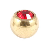 Zircon Titanium Jewelled Balls 1.6mm (Gold colour PVD) 1.6mm, 5mm, Red
