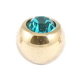 Zircon Titanium Jewelled Balls 1.6mm (Gold colour PVD) 1.6mm, 5mm, Turquoise