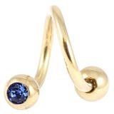 Zircon Titanium Double Jewelled Spirals 1.6mm (Gold colour PVD) 1.6mm, 12mm, 5mm, Sapphire