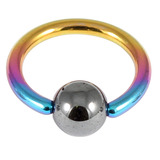 Titanium BCR with Hematite Bead 1.0mm gauge 1.0mm, 10mm, 4mm, Rainbow