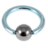 Titanium BCR with Hematite Bead 1.0mm gauge 1.0mm, 10mm, 4mm, Ice Blue