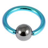 Titanium BCR with Hematite Bead 1.0mm gauge 1.0mm, 10mm, 4mm, Turquoise