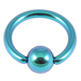 Titanium BCR with Titanium Ball 1.2mm gauge 1.2mm, 6mm, (4mm) Turquoise