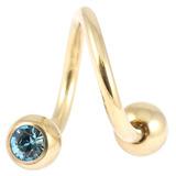 Zircon Titanium Double Jewelled Spirals 1.6mm (Gold colour PVD) 1.6mm, 10mm, 5mm, Light Blue
