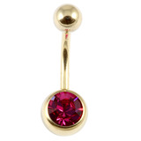 Zircon Titanium Jewelled Belly Bars (Gold colour PVD) 1.6mm, 10mm, Fuchsia