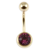 Zircon Titanium Jewelled Belly Bars (Gold colour PVD) 1.6mm, 10mm, Purple