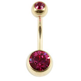 Zircon Titanium Double Jewelled Belly Bars (Gold colour PVD) 1.6mm, 10mm, Fuchsia