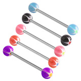 Acrylic Glitter Star Barbell 10mm, 6mm, Pack of 5 colours